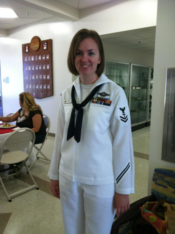 Amanda attending a Change of Command Ceremony while stationed in Pearl Harbor, HI in 2012.