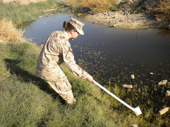 Amanda collecting mosquito larvae samples in Afghanistan to identify whether the local species could carry malaria.