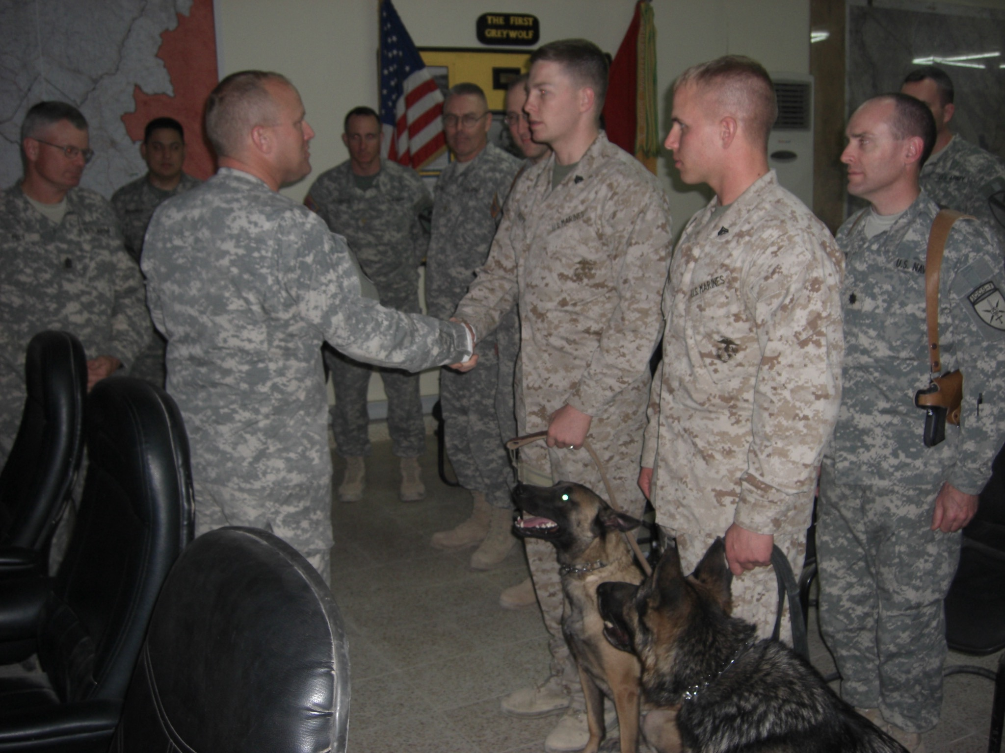Baity (MWD Rona) and Kinney (MWD Hans) in Baghdad Iraq being awarded Army Commendation Medals for service to the US Army.