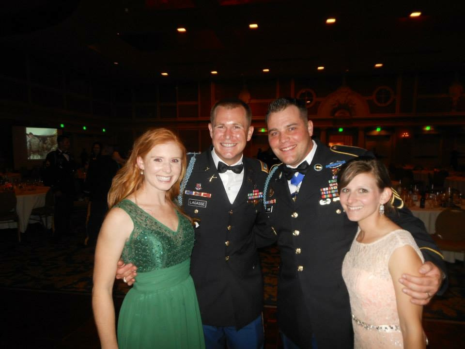 Tyler and his wife Amanda attending a 1/327 Infantry Regiment deployment ball with 1LT Bryan Lagasse and his wife Leah, while assigned to the 101st ABN in 2013.