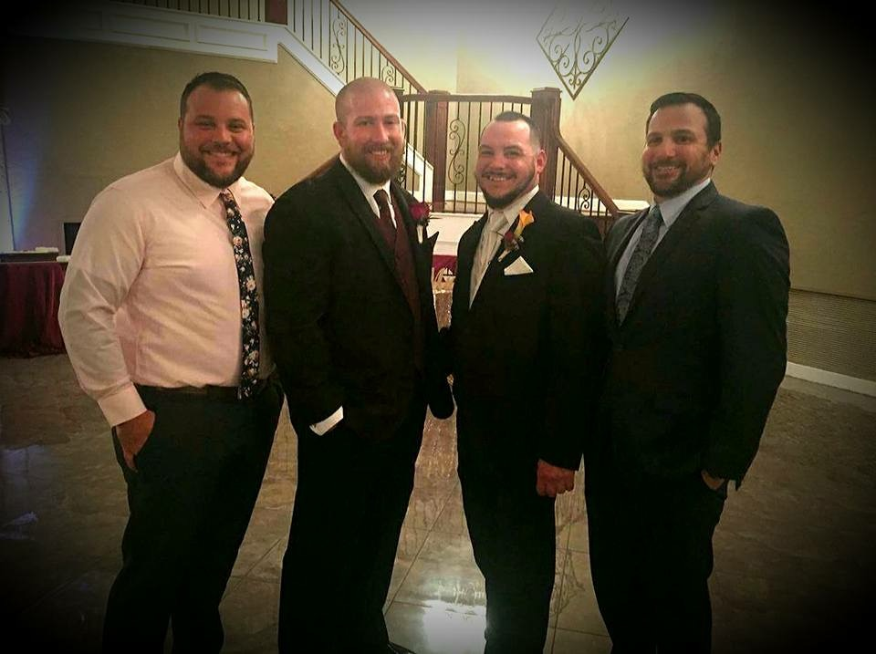 Tyler attending a wedding for a fellow veteran accompanied by their friends they served with in Iraq in 2017.