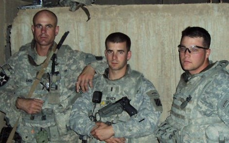 Tyler with fellow Squad Leader SSG Enos and Platoon Leader 1LT Beach in Baghdad, Iraq in 2009.
