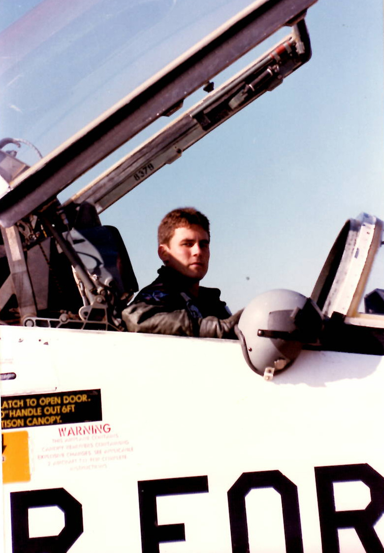 2nd Lieutenant Waggett in a T-38 at Euro-Nato Joint Jet Pilot Training at Sheppard Air Force Base, Wichita Falls TX