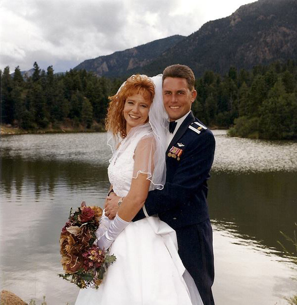 Major Mike Waggett and Sandy Waggett's 1999 wedding at the US Air Force Academy.  Mike served as an assistant professor and instructor pilot.