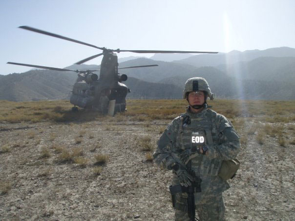 Adam about to board a Chinook after a fly away mission to disarm IEDs.