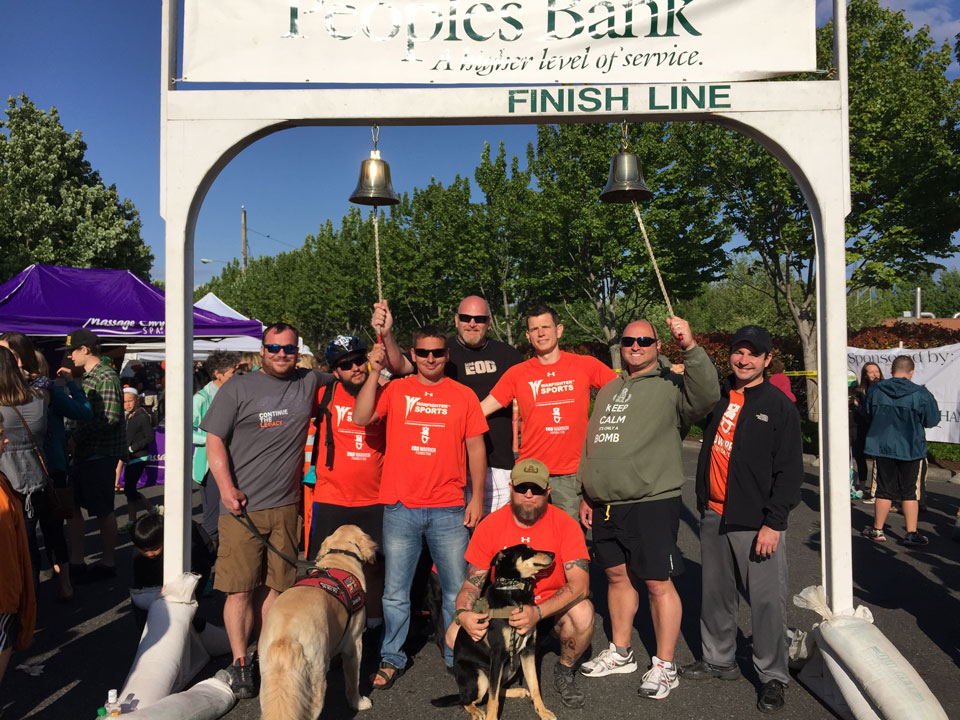 Adam with several EOD friends of his after completing a relay race in Bellingham, WA.