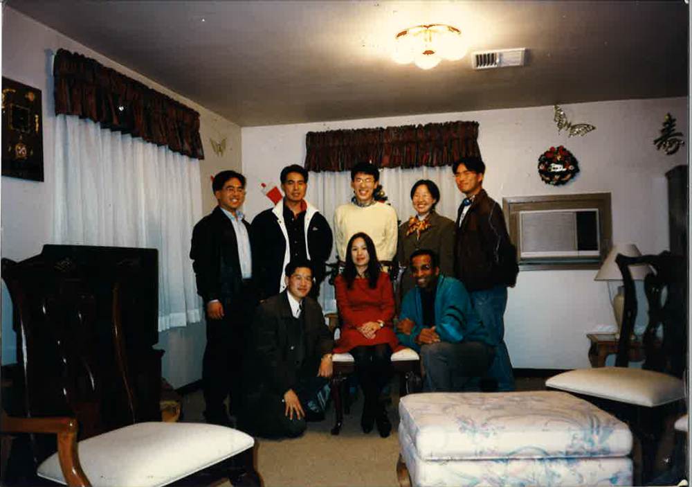 USO volunteer and training team for college English teaching program. U.S. Forces Busan, Korea, 1995