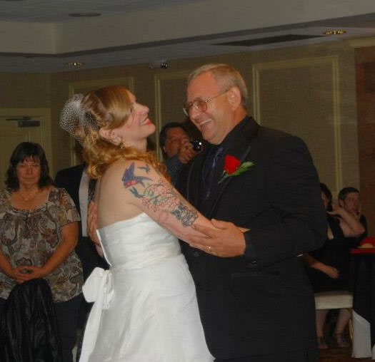 The father daughter dance at Ashley's wedding.