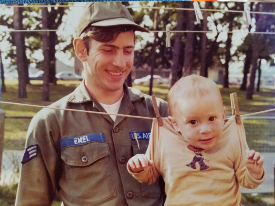 Playing with his oldest son while stationed at RAF Lakenheath England