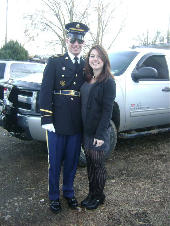 David with his wife on duty as a Military Funeral Honor Guard.