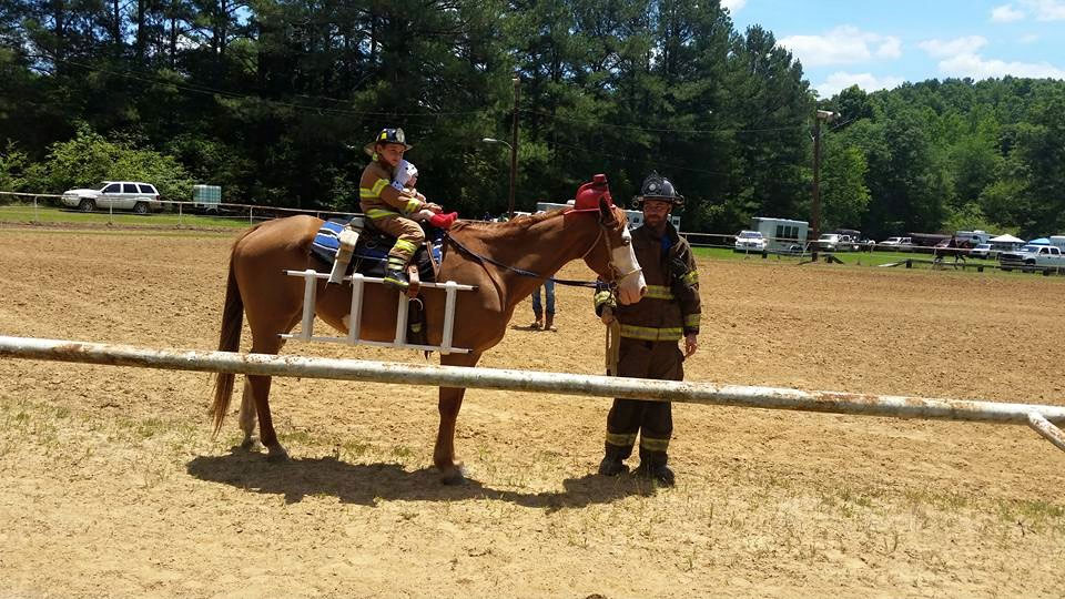 David combining his love of horses and career in the fire service for this costume at the horse show.
