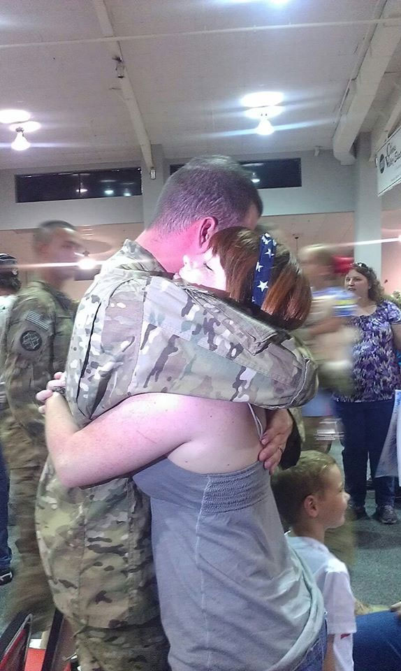 Reunited with his loved ones after his deployment