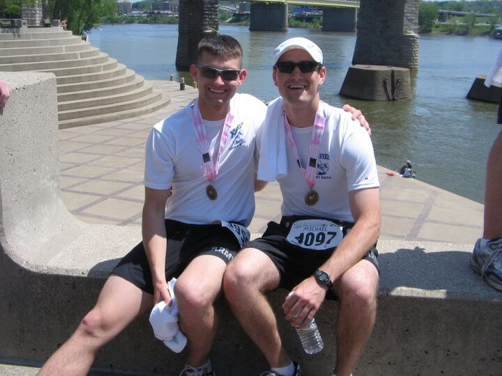 Mason with his friend Michael Runyan after the 2008 Flying Pig Marathon in Cincinnati