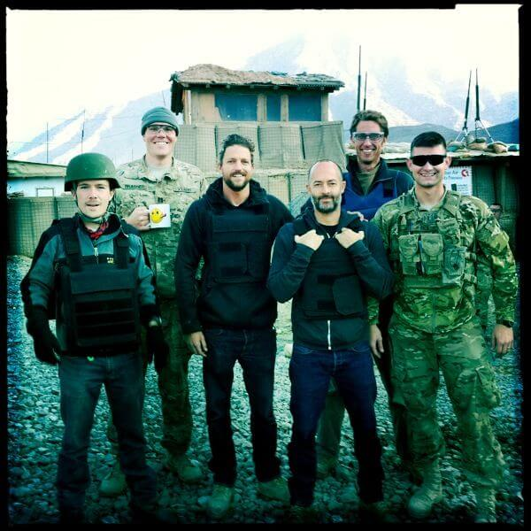 Mason with his buddies Aaron Flynn, Michael Brabner, Jon Rose, Christian Troy and  Logan Mock-Bunting in Kunar, Afghanistan